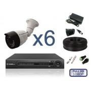 Комплект уличного видеонаблюдения на 6 камер FULL HD