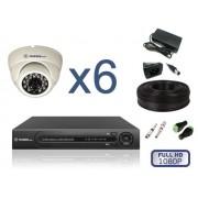 Комплект видеонаблюдения для помещений на 6 камер FULL HD