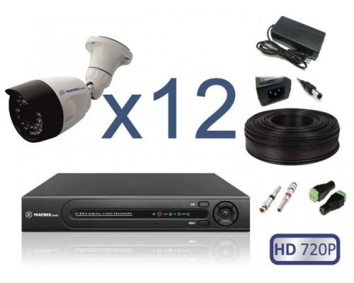 """Комплект """"Уличное видеонаблюдение 12 HD 720P"""""""